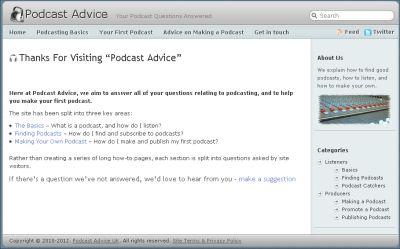 Podcast Advice Website