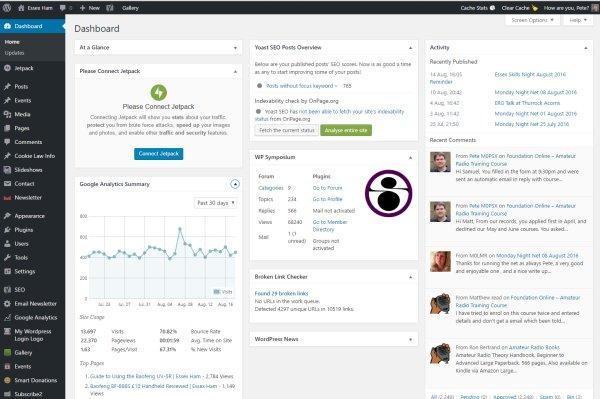 Wordpress Dashboard in action